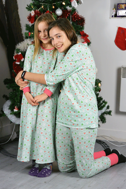 Pyjamas de Noël et d'hiver tissus impression Sam'oz